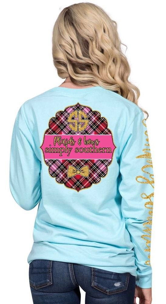"Simply Southern 🌸SOLD🌸NWT  ""Plaids & Bows"" L/S Baby Blue Tee.. Size XL"