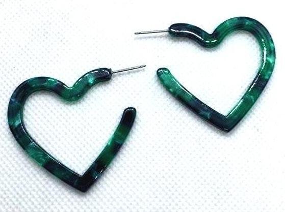 Green Stone Heart Fashion Earrings