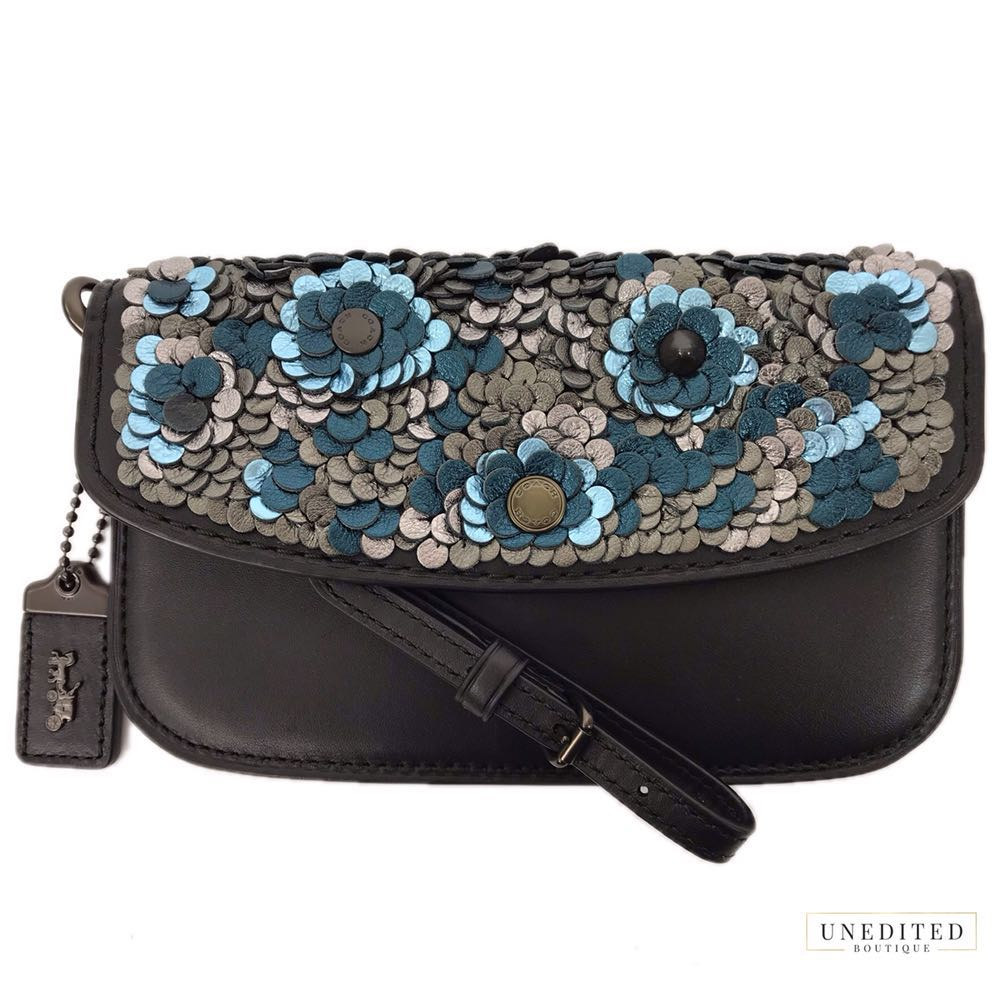 Coach Handmade Sequin Leather Clutch