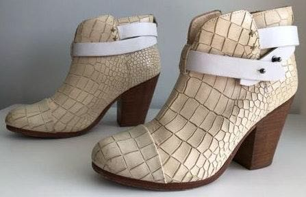 Rag & Bone Harrow Croc Off White Booties