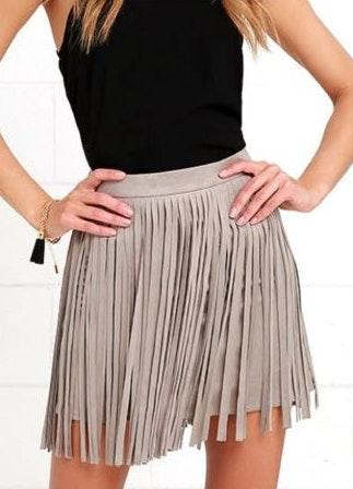 Saks 5th Avenue Toffee Fringed Faux Suede skirt