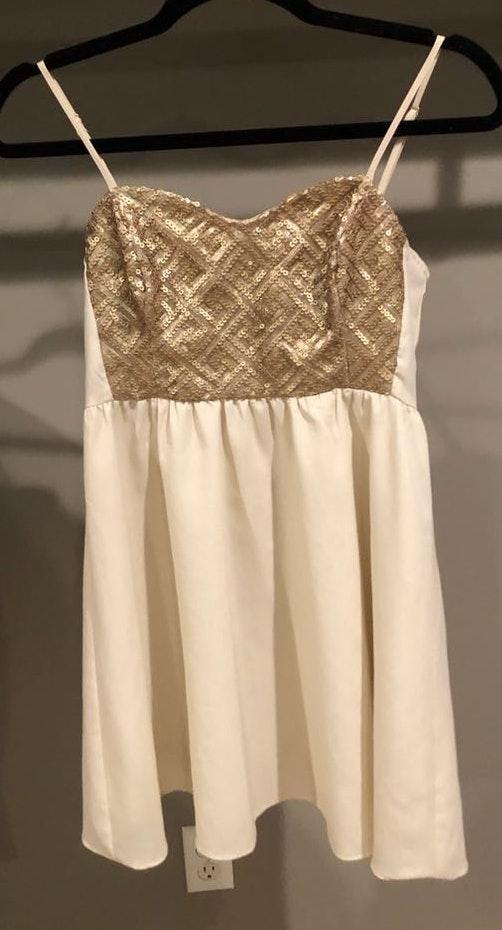 Divided Cream Sequin Mini Dress
