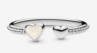 Pandora Beaded Two Hearts Open Ring