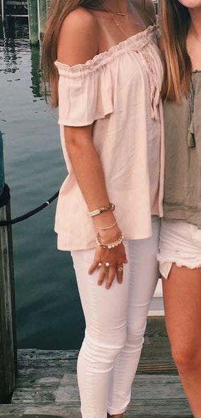 Lulus Pink Off The Shoulder Top
