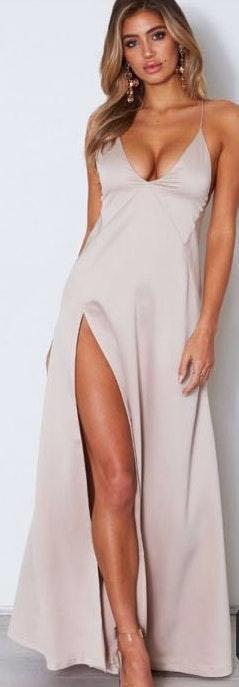White Fox Boutique High Slit Champagne Dress
