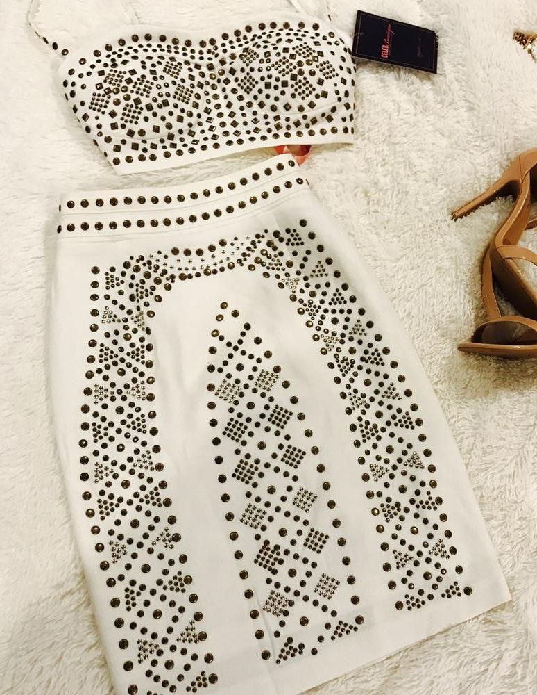 Celeb boutique White Studded Two Piece