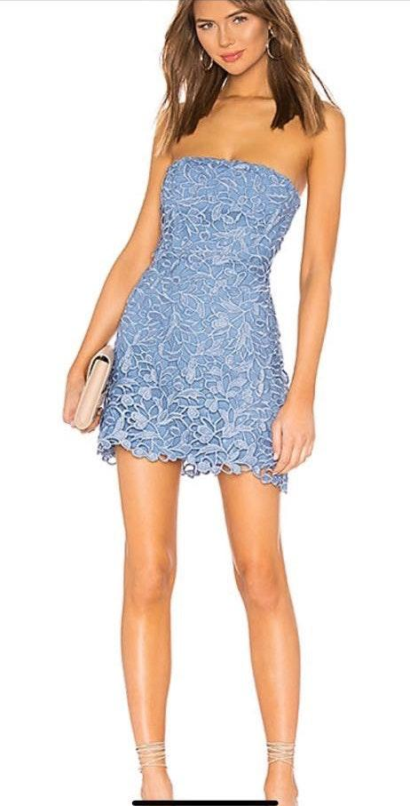 NBD Blue Lace Strapless Dress