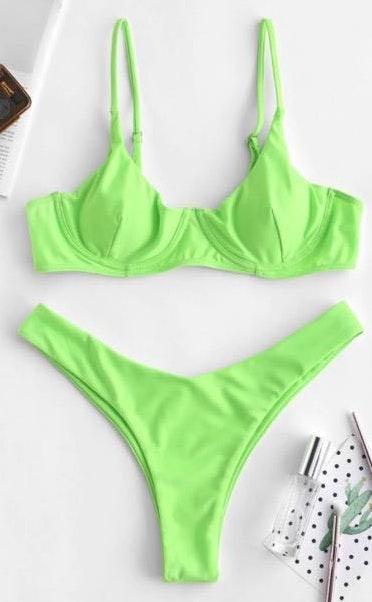Zaful Neon Bikini Set