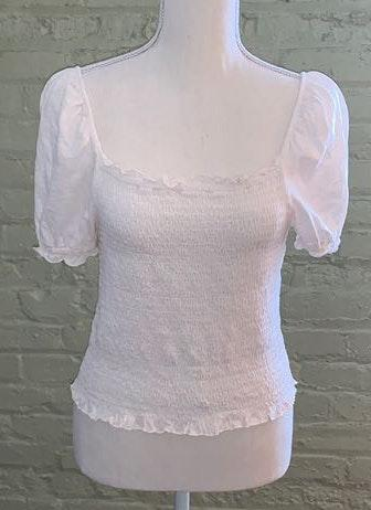 American Eagle Outfitters White Square Neck Puffy Sleeve Shirt