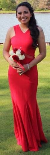 David's Bridal Red Prom Dress