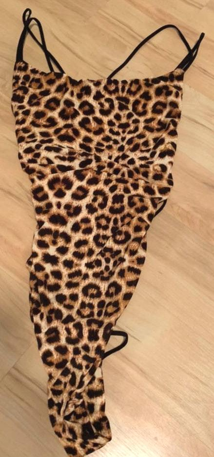 Cheetah print bodysuit with strappy back