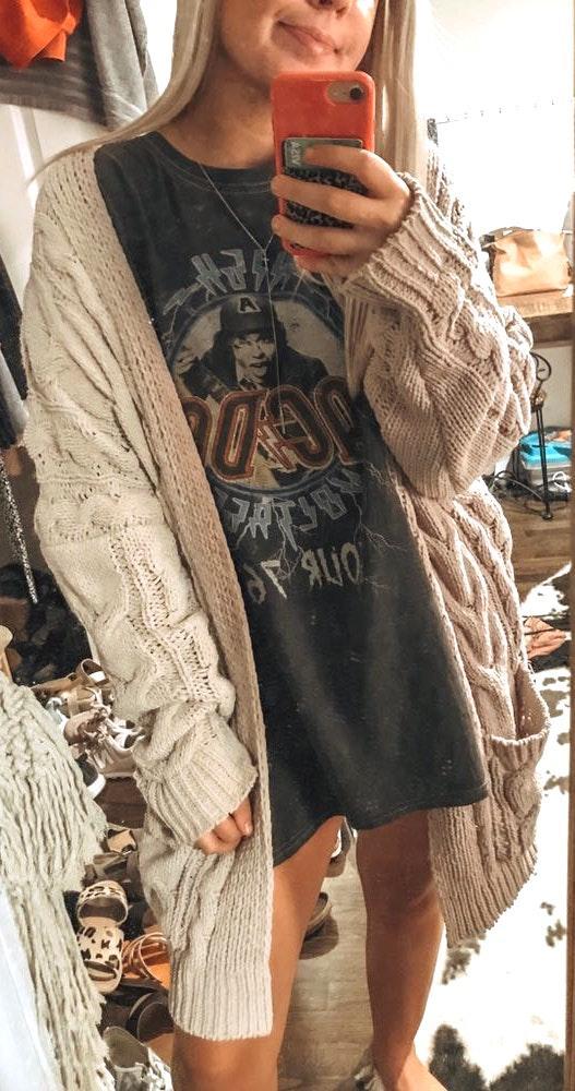 Boutique cable knit cardigan