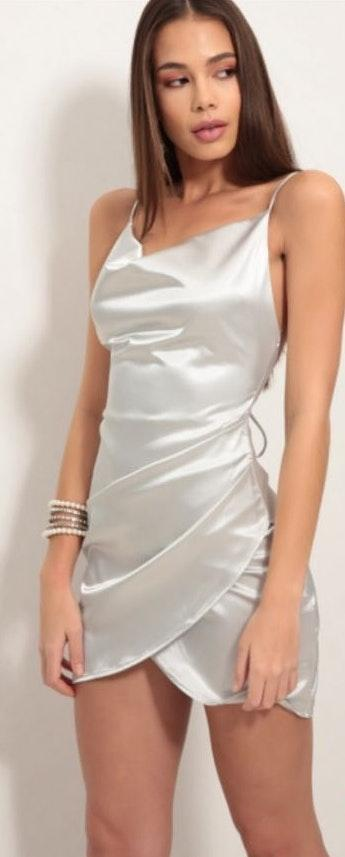 57d97684bdd Lucy in the Sky Silver Satin Dress