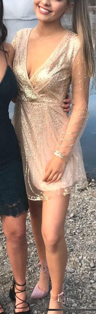 Hello Molly Gold glitter mini dress