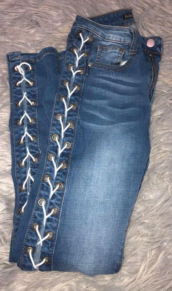 Fashion Nova Laced Sided Jeans