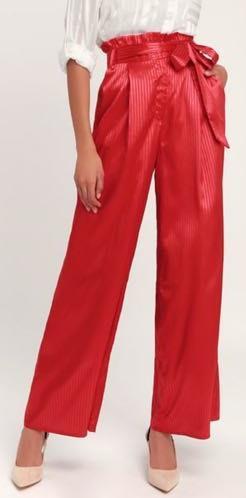 Lulus Red Satin Wide Leg Pants