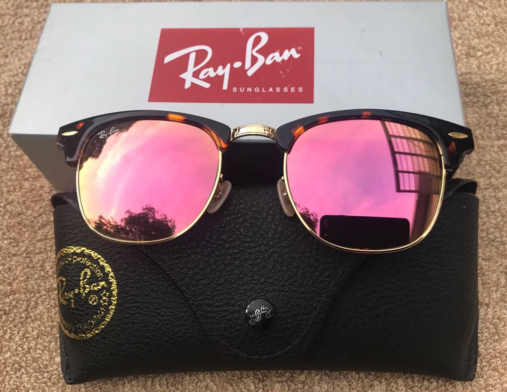 Ray-Ban Ray Ban 3016 Clubmaster Rose Gold Lenses Sunglasses