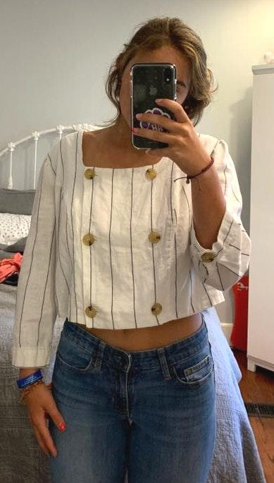 Forever 21 Super Cute Striped Blouse With Buttons
