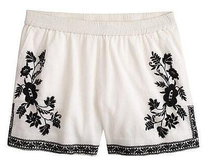 J.Crew Embroidered Gauze Shorts