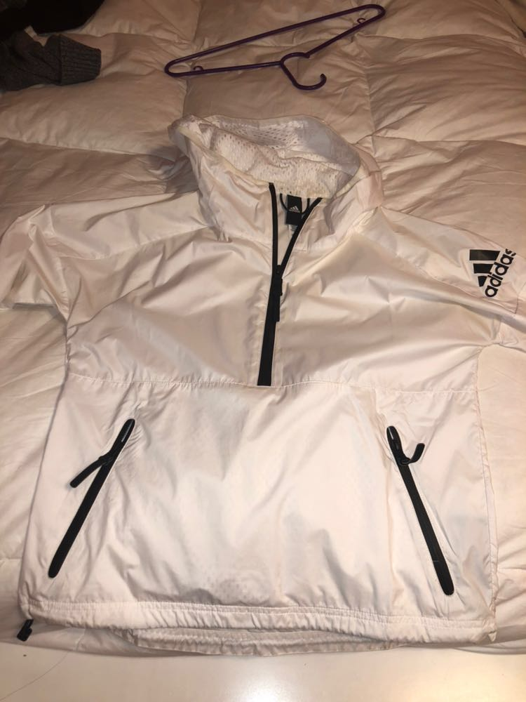 Adidas White Windbreaker