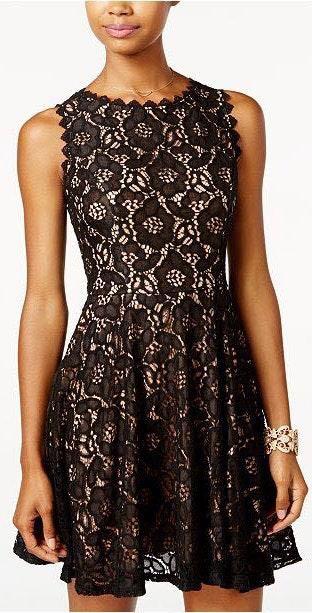 Macy's Black Lace Homecoming Dress
