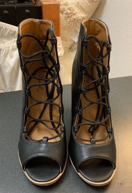 These Three Boutique Black Lace up Booties