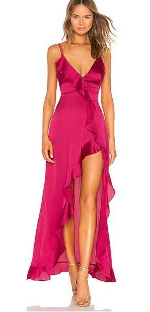 For Love & Lemons Fuchsia Ruffle Gown