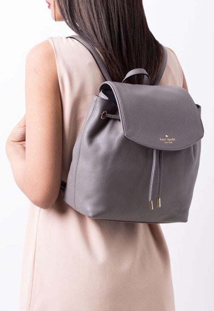 Kate Spade Grey Leather Backpack
