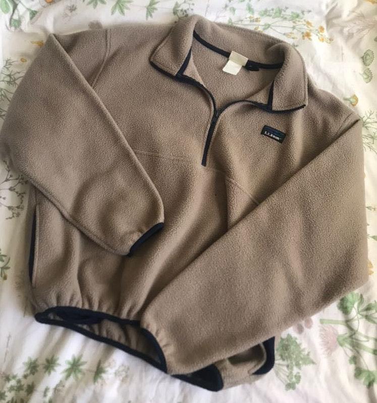 L.L.Bean Tan Fleece Pullover Quarter Zip