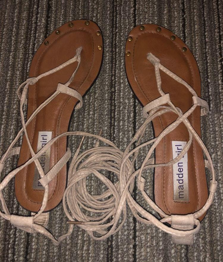Madden Girl Lace Up Nude Sandals