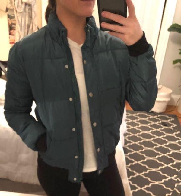 Dark Green Puff Bomber Jacket