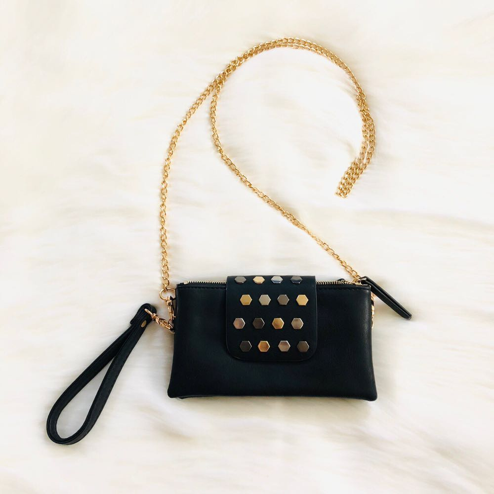 Chain studded black mini crossbody purse