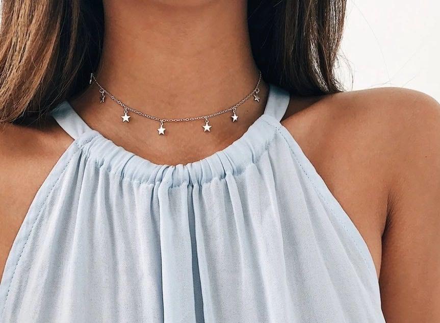 Silver Star Choker Necklace
