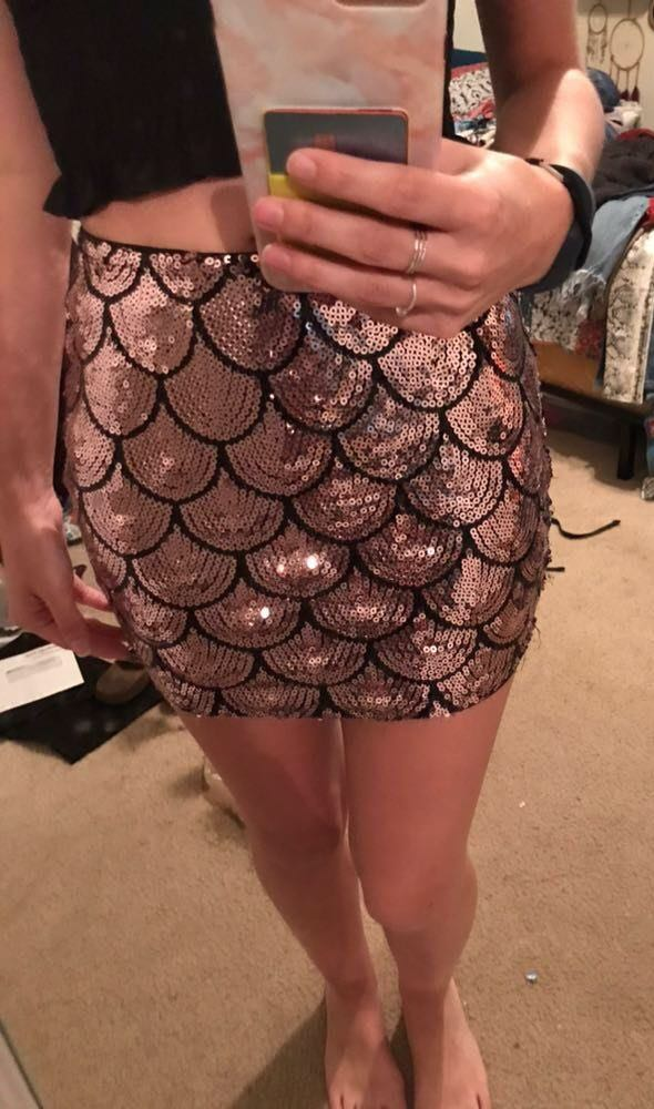 Lily White Pink Sequin Mini Skirt