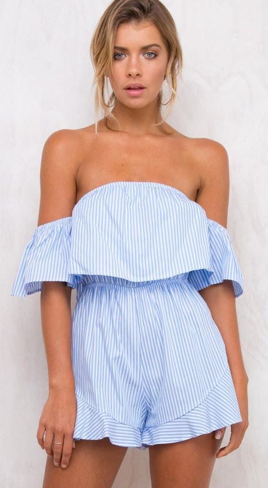 Princess Polly Blue & White Stripe Romper