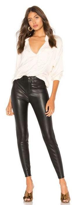 Free People Black Leather Pants
