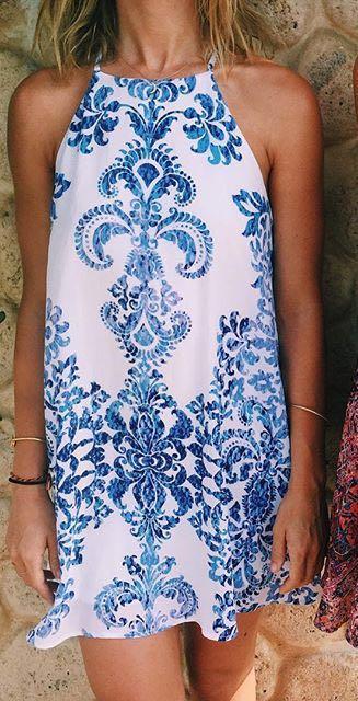 Show Me Your Mumu High Neck Blue Pattern Dress