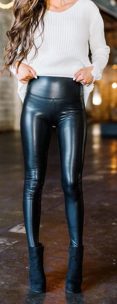 These Three Boutique Leather Highwaisted Leggings