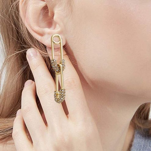 BaubleBar Gold Safety Pin Earrings