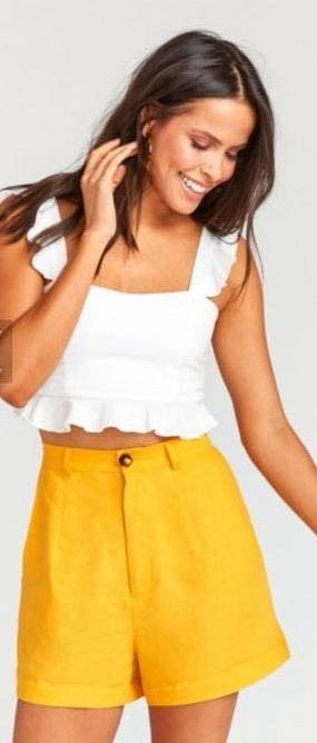 Show Me Your Mumu Stewart Shorts Canary Yellow Linen
