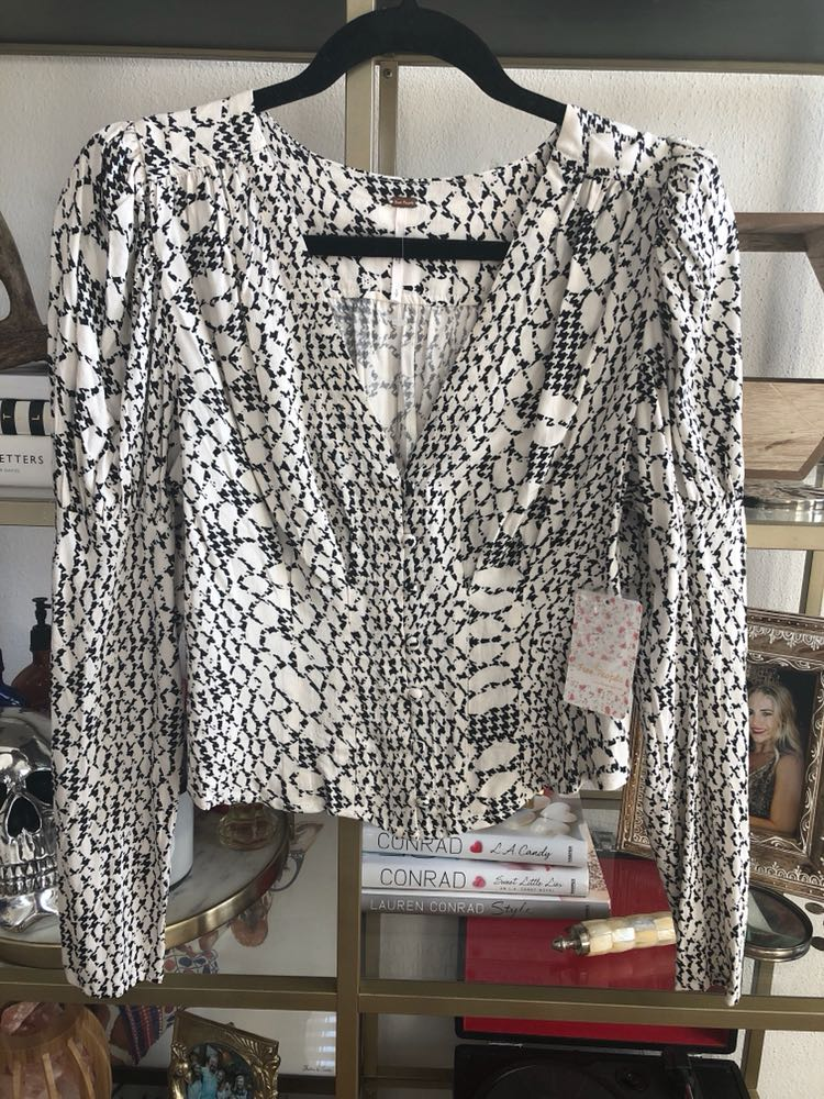 Free People Black and White Blouse
