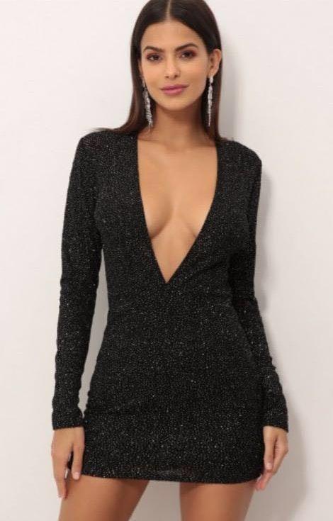 Black Sparkly Plunge Dress