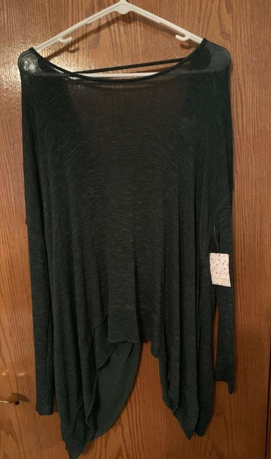 Free People Forest Green Long Sleeve Open Tie Back