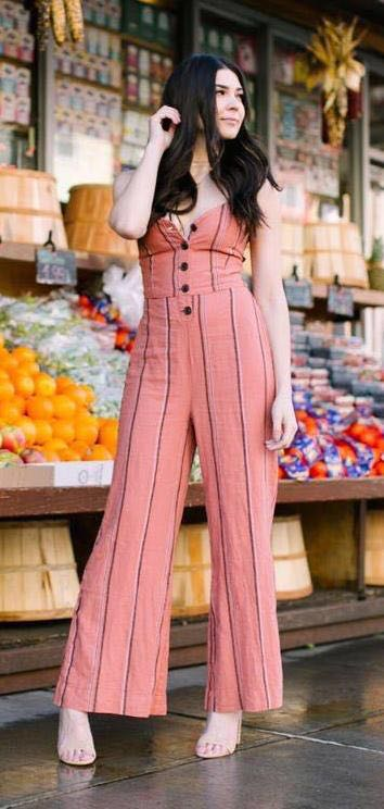 Urban Outfitters Pink Stripped Jumpsuit