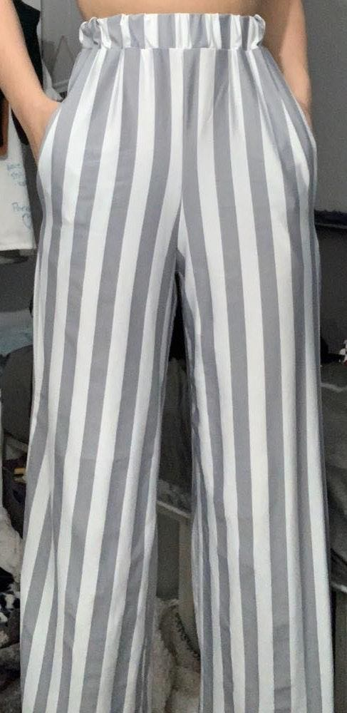 LF Gray and White Striped Party Pants