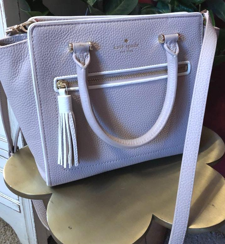 Kate Spade Gray With White And Gold Detail  Purse