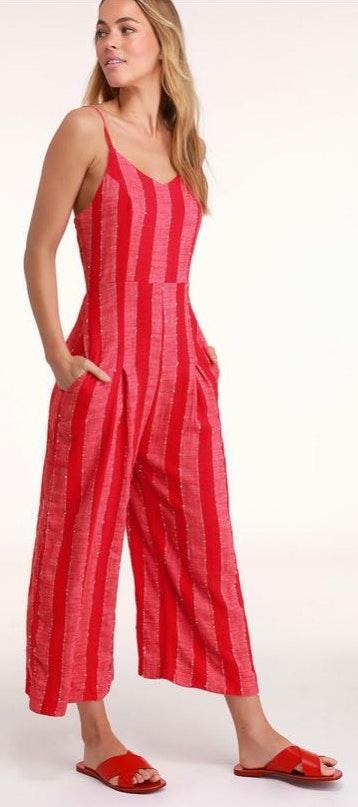 Lulus BLACK striped jumpsuit