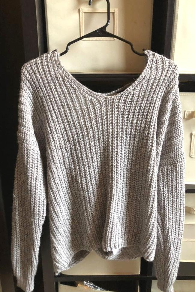 fab'rik Grey Criss Cross Sweater