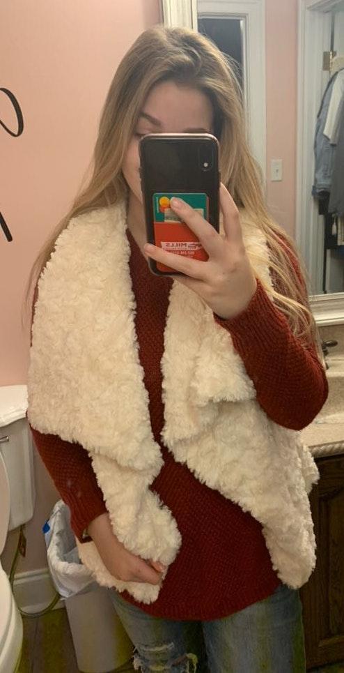 Belk White Fuzzy Vest