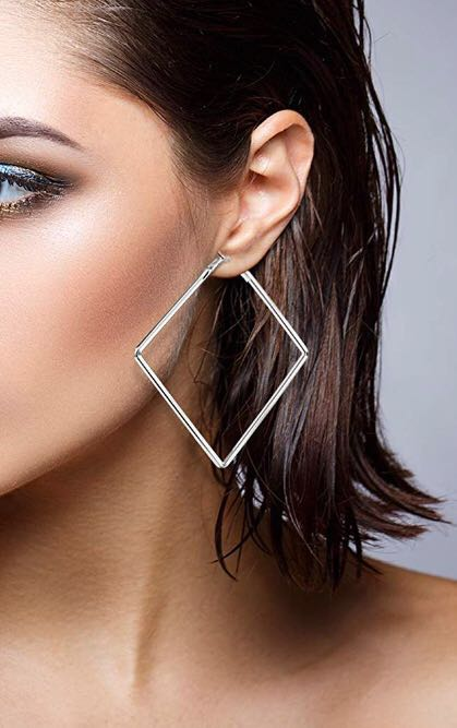 BaubleBar Silver  3 Sided Hoops